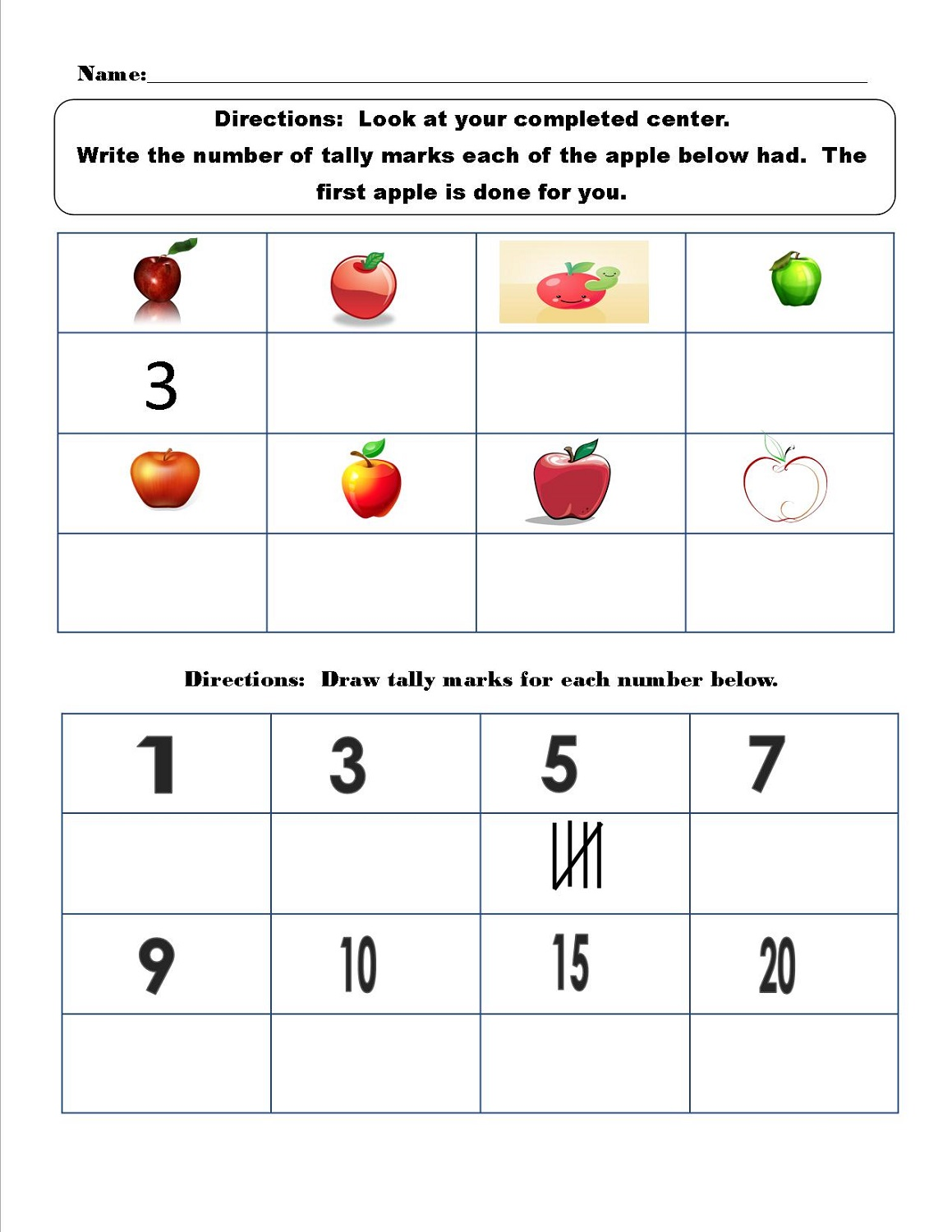 Tally Mark Worksheets Printable