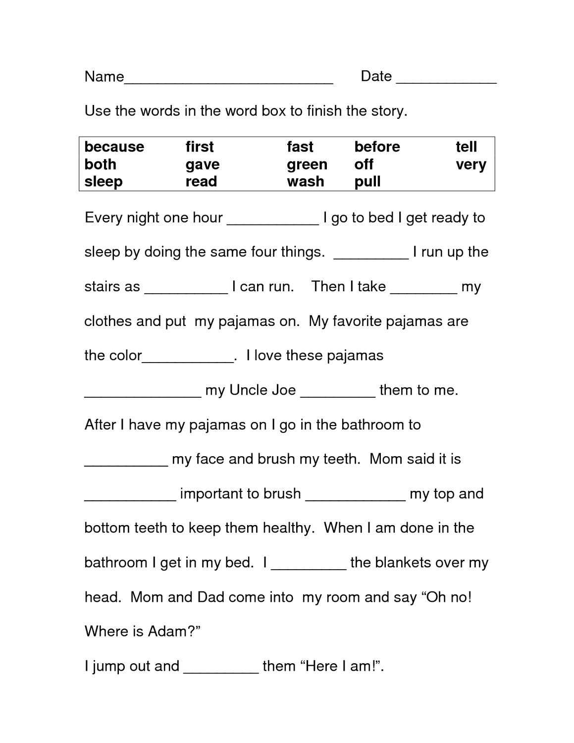 Free Printable Literacy Worksheets