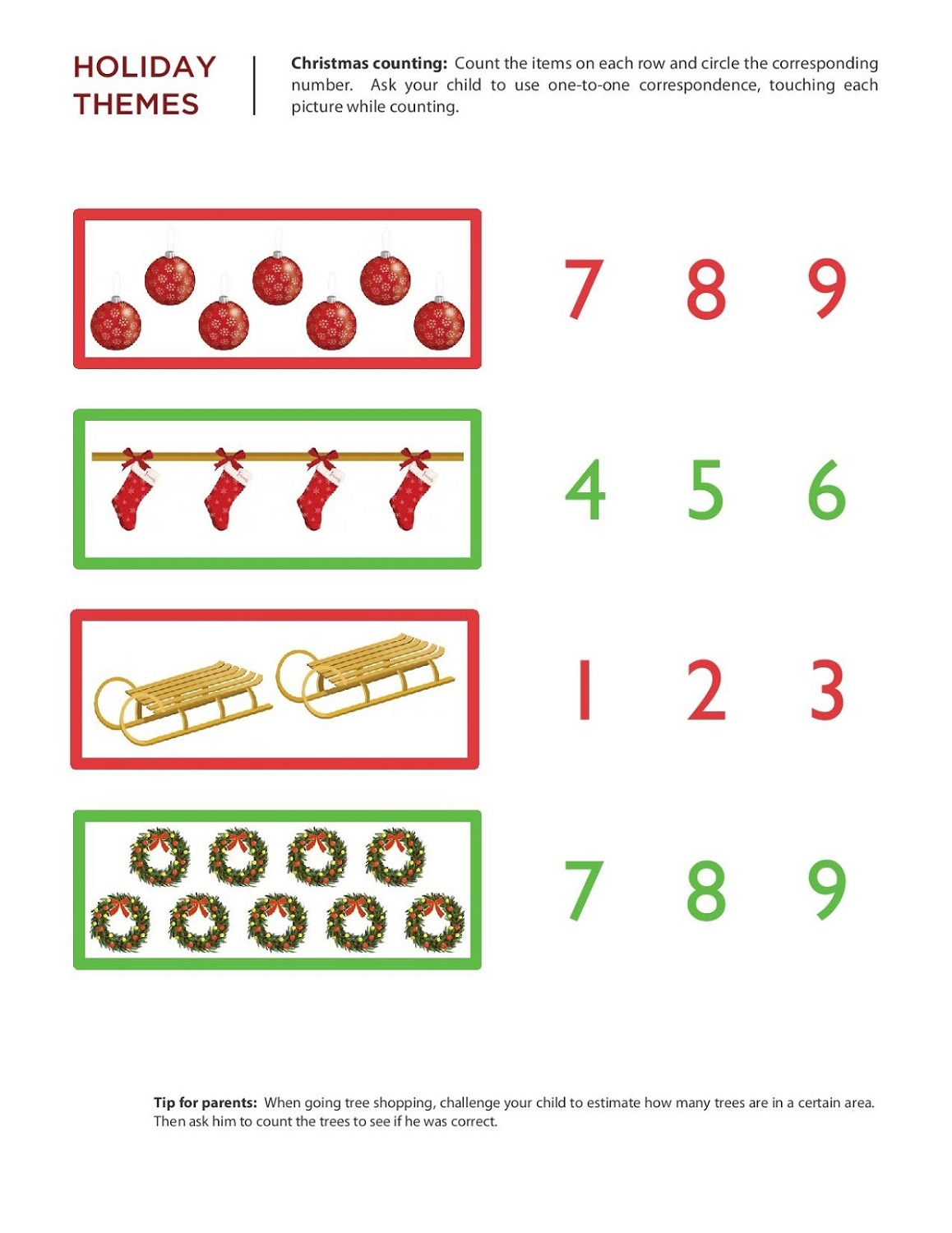Pictograph Worksheet For Kindergarten Christmas Math