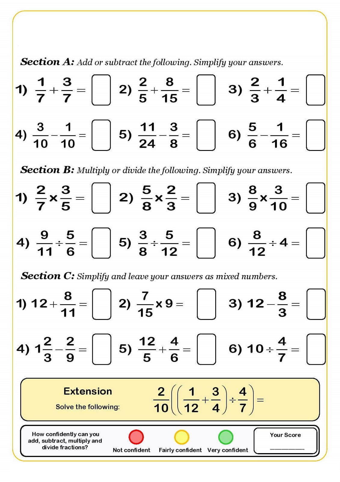 Worksheet For Year 5