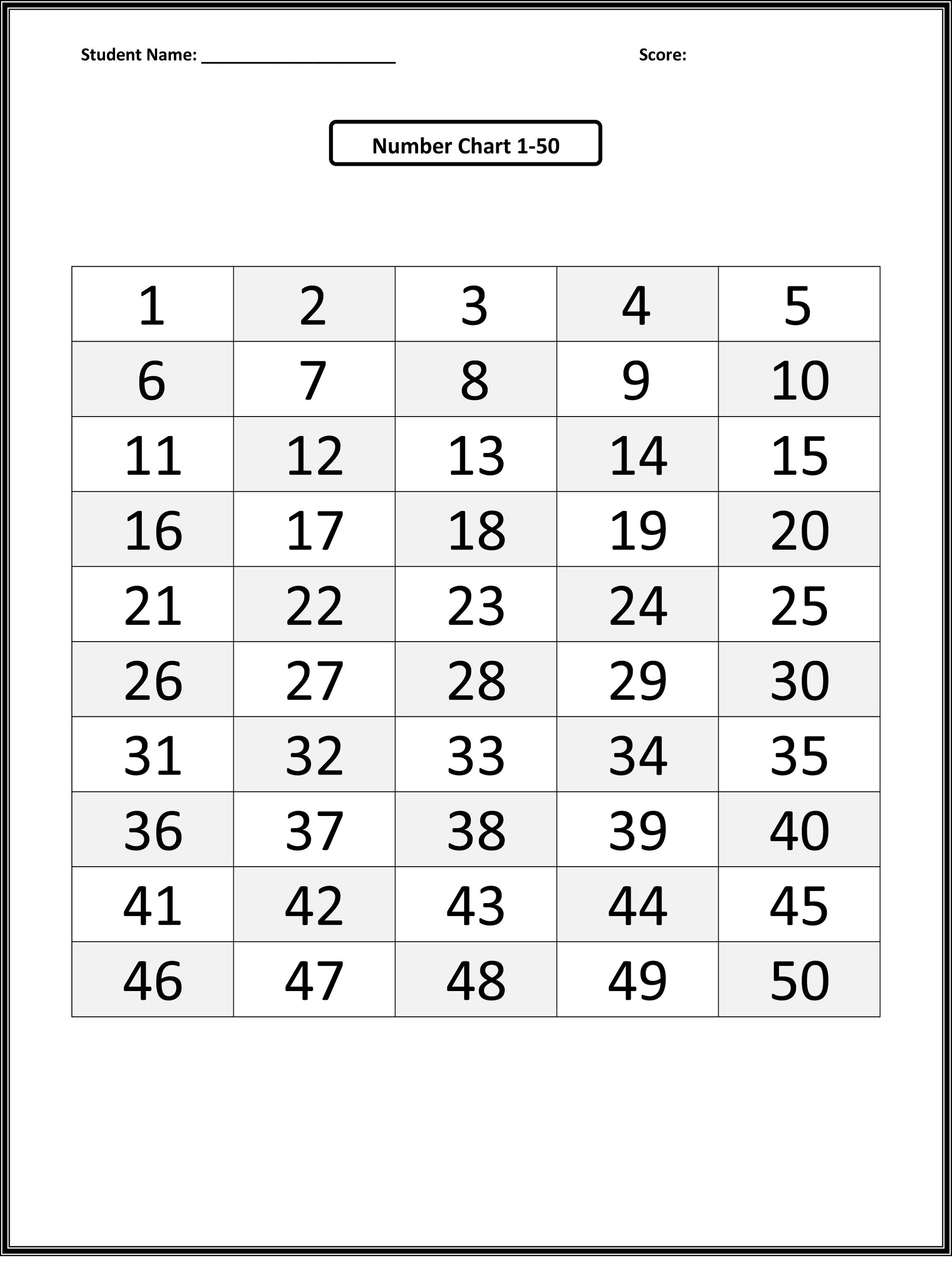 Preschool Tracing Numbers 1 50 Worksheet