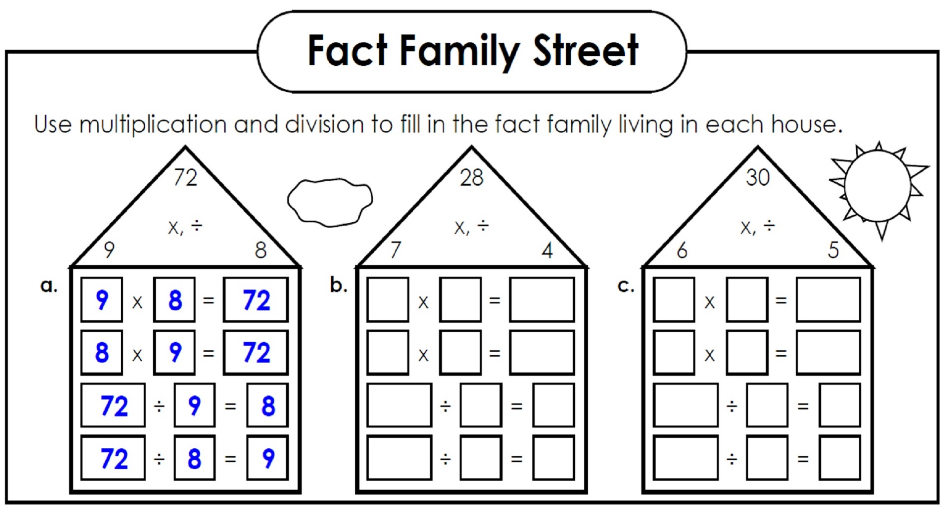 Family Of Facts Worksheets