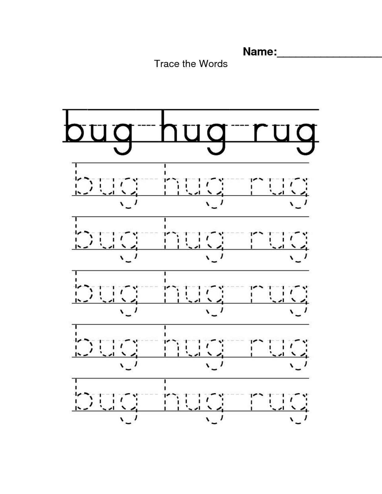 Name Trace Worksheets