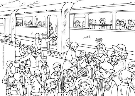 1940s Evacuation Colouring Page