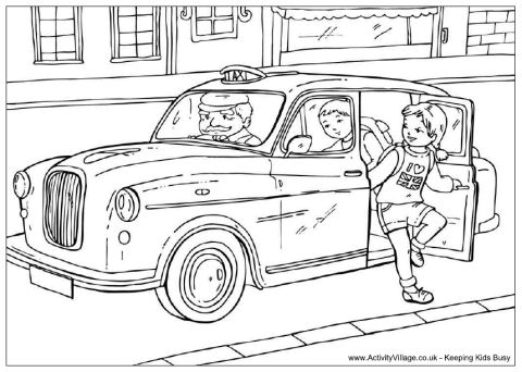 London Black Cab Colouring Page To Print