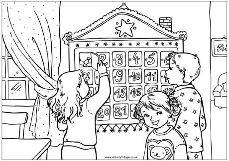 Advent Calendar Colouring Page For Kids