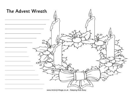 Advent Wreath Writing Activity For Kids