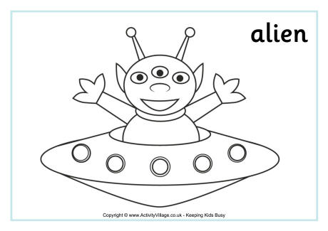 Alien Colouring Page