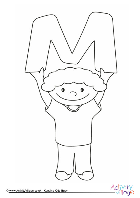 Alphabet of Children Colouring Pages M