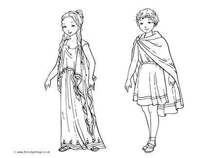 Ancient Greek Children Colouring Page