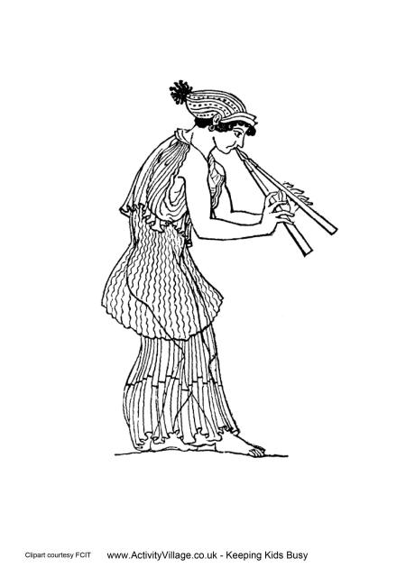 Ancient Greeks Double Flute Colouring Page
