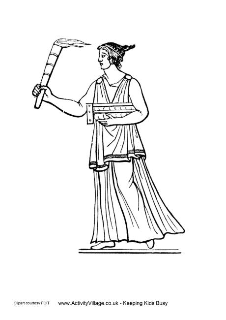Ancient Greeks Torch Colouring Page