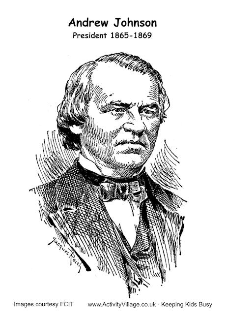 Andrew Johnson Colouring Page