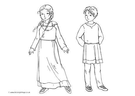 Anglo Saxon Children Colouring Page