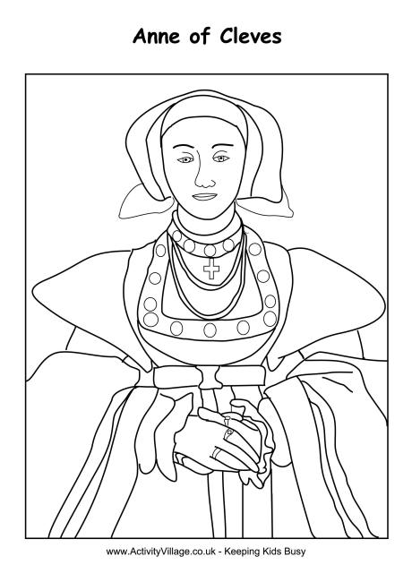 Anne of Cleeves Colouring Page