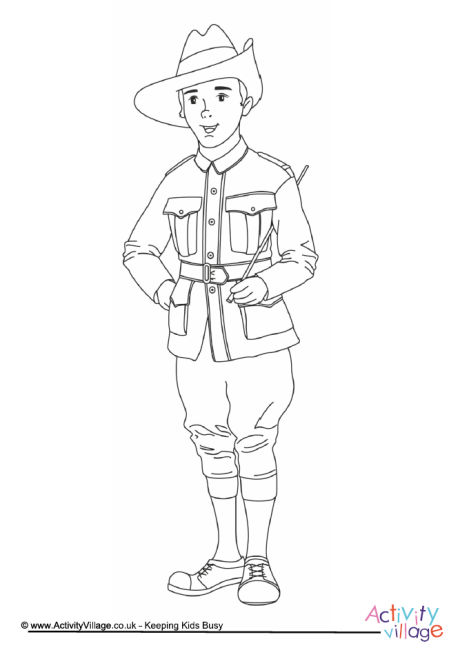 ANZAC Soldier Colouring Page
