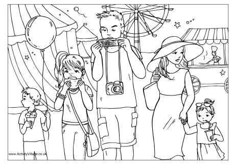 At the Funfair Colouring Page