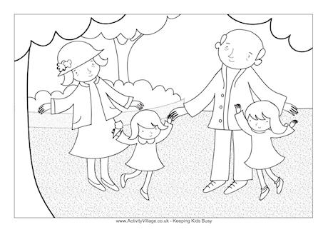 At the Park Colouring Page