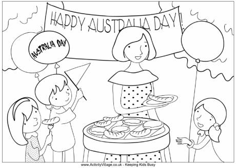 Australia Day Barbecue Colouring Page