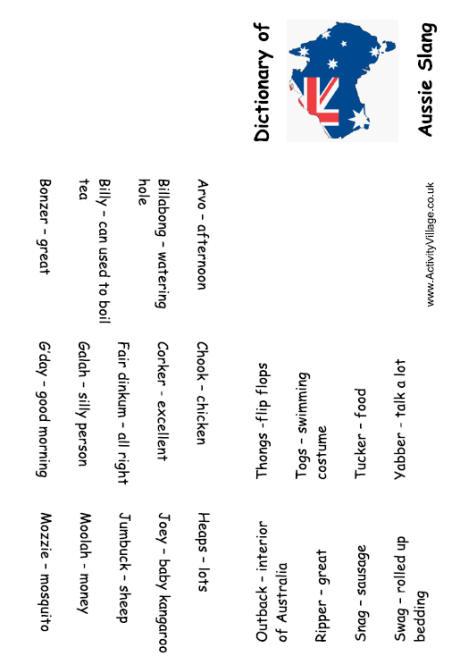 Australian Slang Booklet