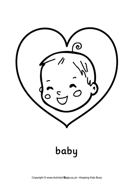 Baby Love Colouring Page