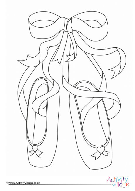 Ballet Shoes Colouring Page