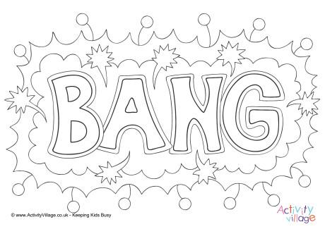 Bang Colouring Page