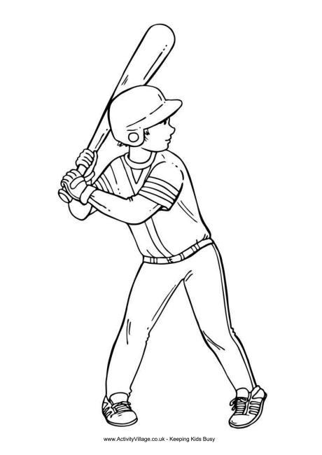 Baseball Boy Colouring Page 2