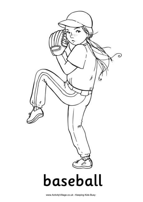 Baseball Girl Colouring Page