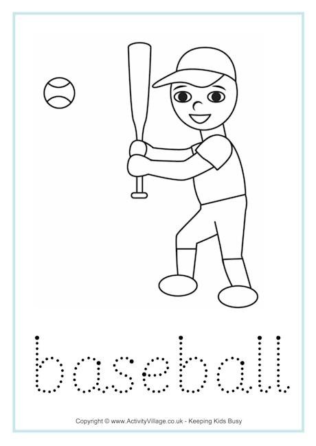 Baseball Word Tracing