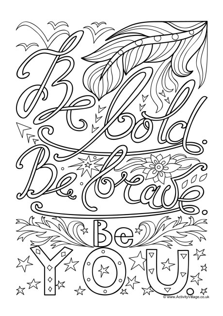 Be Bold Colouring Page
