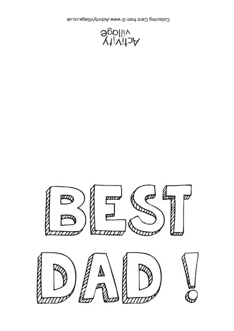 Best Dad colouring card
