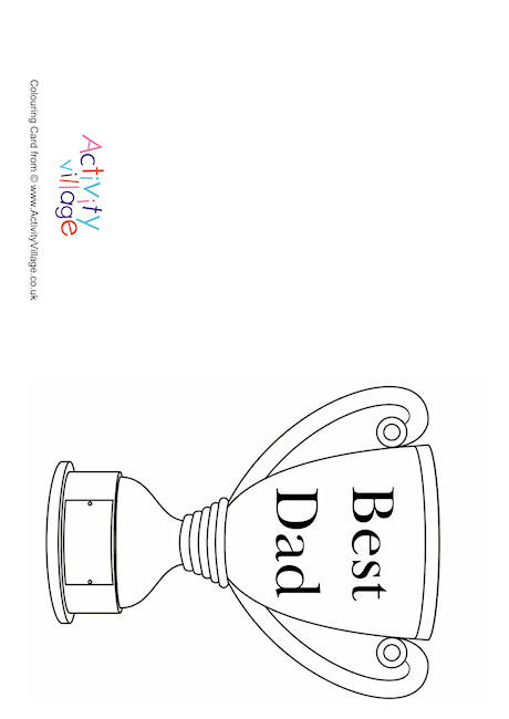 Best Dad Trophy Colouring Card