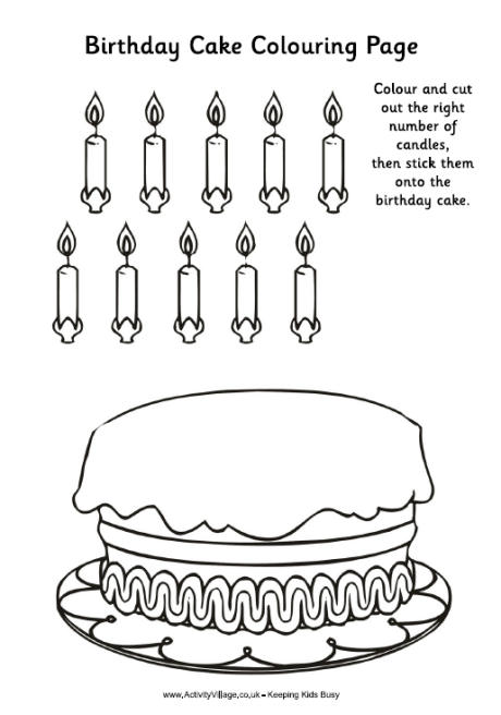 Birthday Cake Colouring Activity