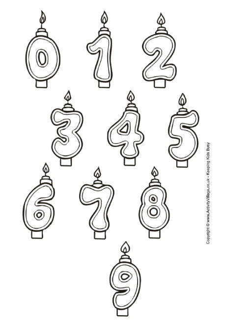 Birthday Candles Colouring Page