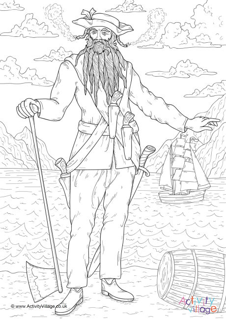 Blackbeard Colouring Page 2