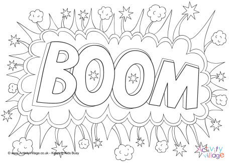 Boom Colouring Page