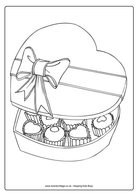 Box of Chocolates Colouring Page