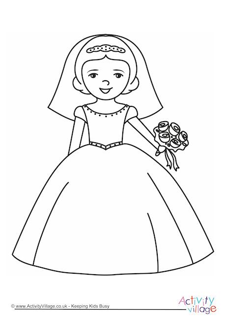 Bride Colouring Page