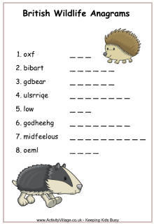 British Wildlife Worksheets