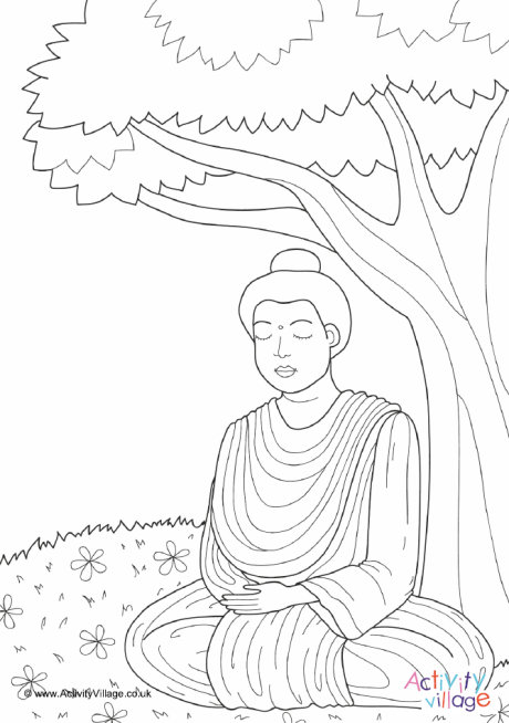 Buddha Under Bodhi Tree Colouring Page