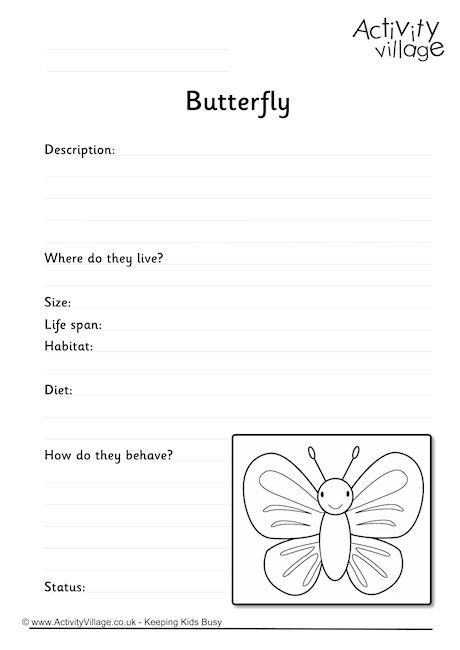 Butterfly Worksheet