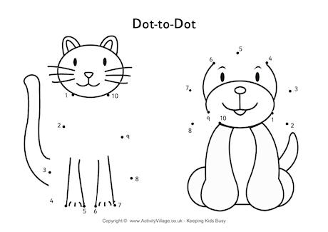 Cat and Dog Dot to Dot