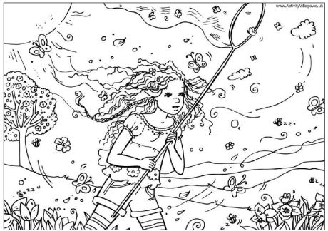 Catching Butterflies Coloring Page