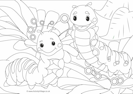 Caterpillars Scene Colouring Page