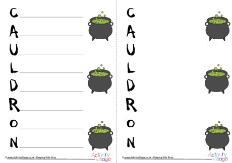 Cauldron Acrostic Poem Printable
