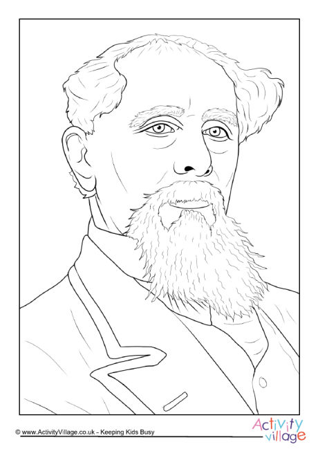 Charles Dickens Portrait Colouring Page
