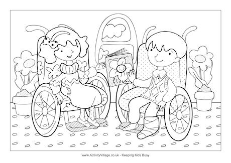 Children in Wheelchairs Colouring Page