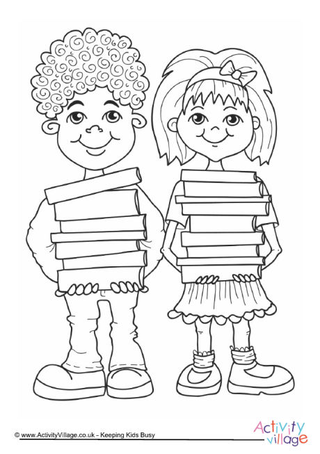 Children with Books Colouring Page