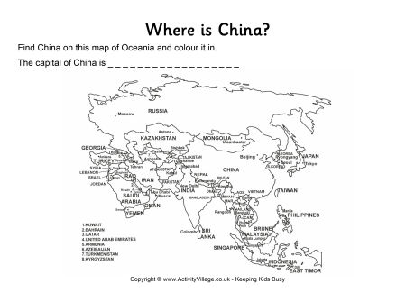 China Location Worksheet